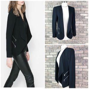 Zara Blazer Jacket Draped Double Zip Pocket Rare